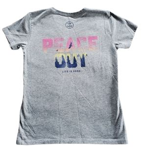 """Life is Good Crusher Tee """"Peace Out"""" Size XS"""